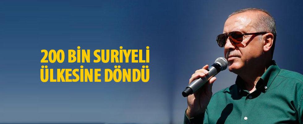 Cumhurbaşkanı Erdoğan: Ülkelerine dönen Suriyelilerin sayısı 200 bini buldu