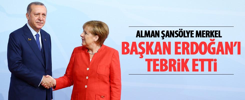 Merkel'den Cumhurbaşkanı Erdoğan'a Kutlama