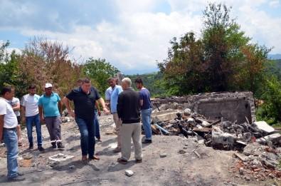 Evi Yanan Aileye Başkan Nuri Tekin Sahip Çıktı