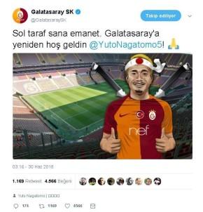 Galatasaray'dan Nagatomo'ya Hoş Geldin Mesajı