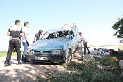 Kontrolden Çıkan Otomobil Ağaca Çarparak Ters Döndü Açıklaması 2 Yaralı