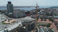 KATOLIK - Kubbesine Kurşun Dökülmeye Başlanan Taksim Camii'nde Son Durum Havadan Görüntülendi