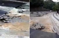 SAĞANAK YAĞIŞ - Çengelköy'de Yağış Nedeniyle Yol Çöktü