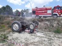 Devrilen Traktörün Altında Kalan Sürücü Ağır Yaralandı