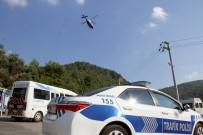 POLİS HELİKOPTERİ - Fethiye'de Helikopter İle Havadan Trafik Denetimi