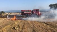 İŞ MAKİNASI - Kargadan Çıktığı Sanılan Yangında 10 Dönüm Buğday Tarlası Yandı