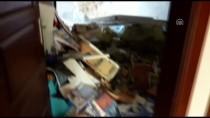 DEPREM - Yamaçtan Apartmanın Üzerine Kaya Parçaları Kaydı
