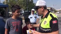 TRAFİK KURALI - Aydın'da Çocuklardan Hatalı Sürücülere 'Kırmızı Düdüklü' Uyarı