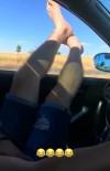 Ayaklarını Camdan Dışarı Sarkıtan Sürücü Hayatını Hiçe Saydı