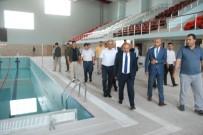 Vali Ustaoğlu Yarı Olimpik Yüzme Havuzunda İncelemelerde Bulundu