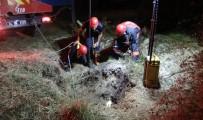 (Özel) Silivri'de 20 Metrelik Çukura Düşen Dana İtfaiye Ekiplerince Kurtarıldı