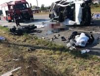 Hafif ticari araç motosikletli gruba çarptı: 7 ölü