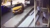 TİCARİ TAKSİ - Yarım Çekilen El Freni Sebebiyle Faciadan Dönüldü