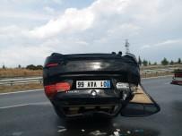Otomobil Takla Attı Sürücü Yara Almadan Kurtuldu