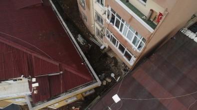 Kağıthane'de Çöken İstinat Duvarı Havadan Görüntülendi