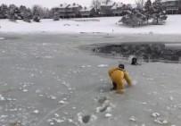 İTFAİYE ERİ - İtfaiyeciler Buz Tutan Göldeki Köpeği Bata Çıka Kurtardı