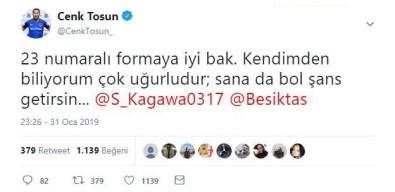 Cenk Tosun'dan Kagawa'ya Mesaj