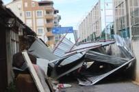 MİMAR SİNAN - Manavgat'ta Fırtına Toptancı Halinin Çatısını Uçurdu