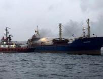 Pendik açıklarındaki gemi yangınında 15 mürettebat kurtarıldı