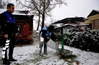 ZABITA MEMURU - Kar Yağışı Altındaki İlçede Sokak Hayvanlarını Unutmadılar