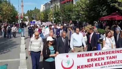 Uşak'ta 'Meme Kanseri Farkındalık Ayı' Yürüyüşü