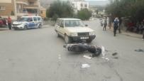 KARACAOĞLAN - Otomobil İle Çarpışan Motosikletin Sürücüsü Yaralandı