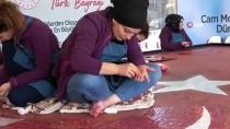 (Özel) Dev Cam Mozaikten Türk Bayrağı Beykoz'da Hazırlanıyor