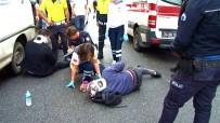 (Özel) Motosikletiyle Kediyi Ezmemek İçin Kaza Yaptı Açıklaması 2 Yaralı