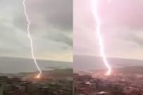 YILDIRIM DÜŞTÜ - Trabzon'da yıldırım böyle düştü