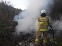 Burhaniye'de Arazi Yangınını İtfaiye Söndürdü
