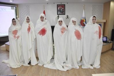 Kanlı Kefen Giyip Kadına Şiddete Tepki Gösterdiler
