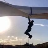 Pazarcı, Uçan Çadırla Beraber Metrelerce Havaya Yükseldi
