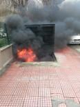 Yer Altı Çöp Konteynerine Atılan İzmarit Yangın Çıkardı