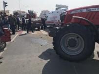 Traktör İle Otomobil Çarpıştı Açıklaması 1'İ Ağır 3 Yaralı