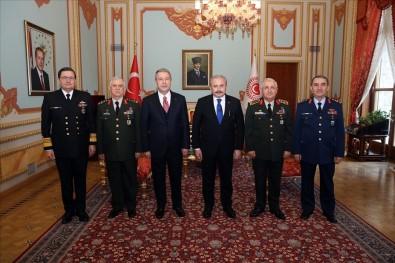 Bakan Akar Ve Beraberindeki Komutanlardan TBMM Başkanı Şentop'a Ziyaret