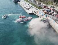 İSTANBUL BOĞAZI - İstanbul Boğazı Aşiyan açıklarında gezi teknesinde yangın