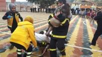 İskilip'te Öğrencilerden Sivil Savunma Tatbikatı