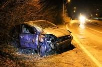 Beton Direğe Çarpan Sürücü Ağır Yaralandı