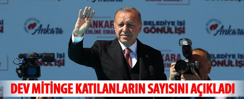 Cumhurbaşkanı Erdoğan mitinge katışan kişi sayısını açıkladı