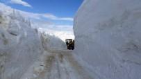 KARLA MÜCADELE - Kar Kalınlığının 4 Metreyi Bulduğu Yolda Hummalı Çalışma