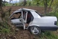 Otomobil Yoldan Çıkıp Ağaca Çarptı Açıklaması 1 Yaralı