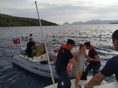 Mahsur Kalan Biri Hamile 5 Kişinin İmdadına Sahil Güvenlik Yetişti