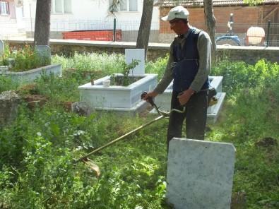 Pazaryeri'nde İlçe Mezarlığı Temizleniyor