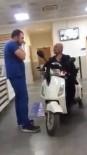 Motosikletiyle Hastaneye Muayene Olmaya Girdi