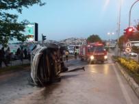 İşaret Levhasına Çarpan Araç Takla Attı Açıklaması 1 Yaralı