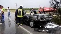 Karaman'da Seyir Halindeki Otomobil Yandı