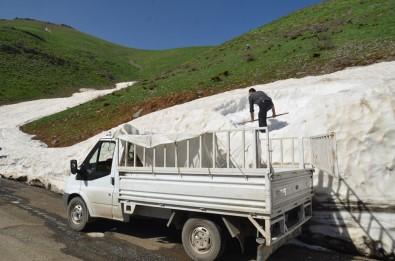 Dağlardan Topladıkları Karları İlçede Sattılar