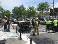 SEYRANTEPE - Maslak'ta Otomobil Alev Alev Yandı, Yol Trafiğe Kapandı