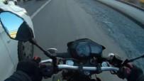 (Özel) TEM Otoyolu'nda Motosikletlinin 'Başına' Gelmeyen Kalmadı