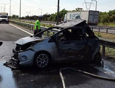TEM'de TIR otomobile arkadan çarptı: 5 ölü